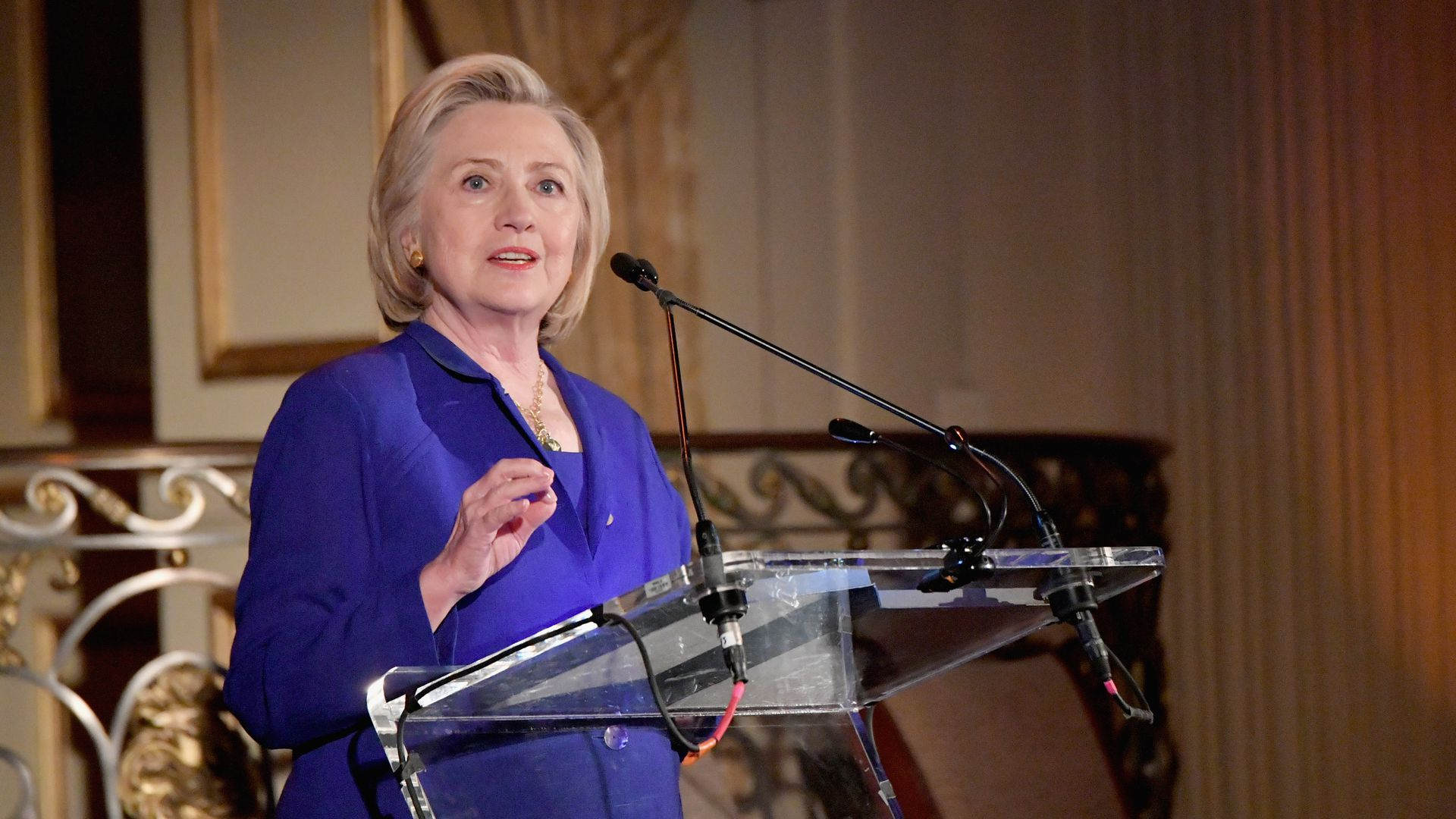 s Hillary Clinton speaks onstage during the 8th Annual Elly Awards hosted by the Women's Forum of New York at The Plaza Hotel on June 18, 2018 in New York City.