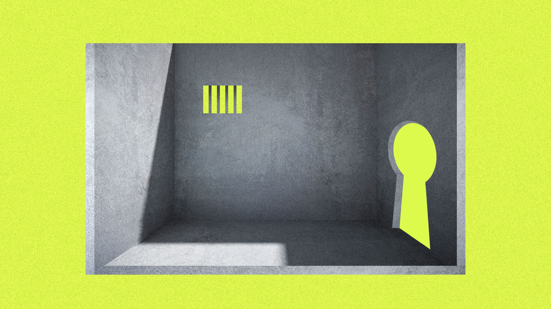 An illustration of a small prison cell with a big key hole set against a lime green background