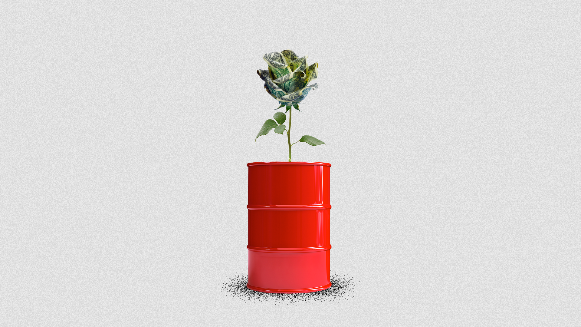 Illustration of an oil barrel with a flower made of cash growing out of it.