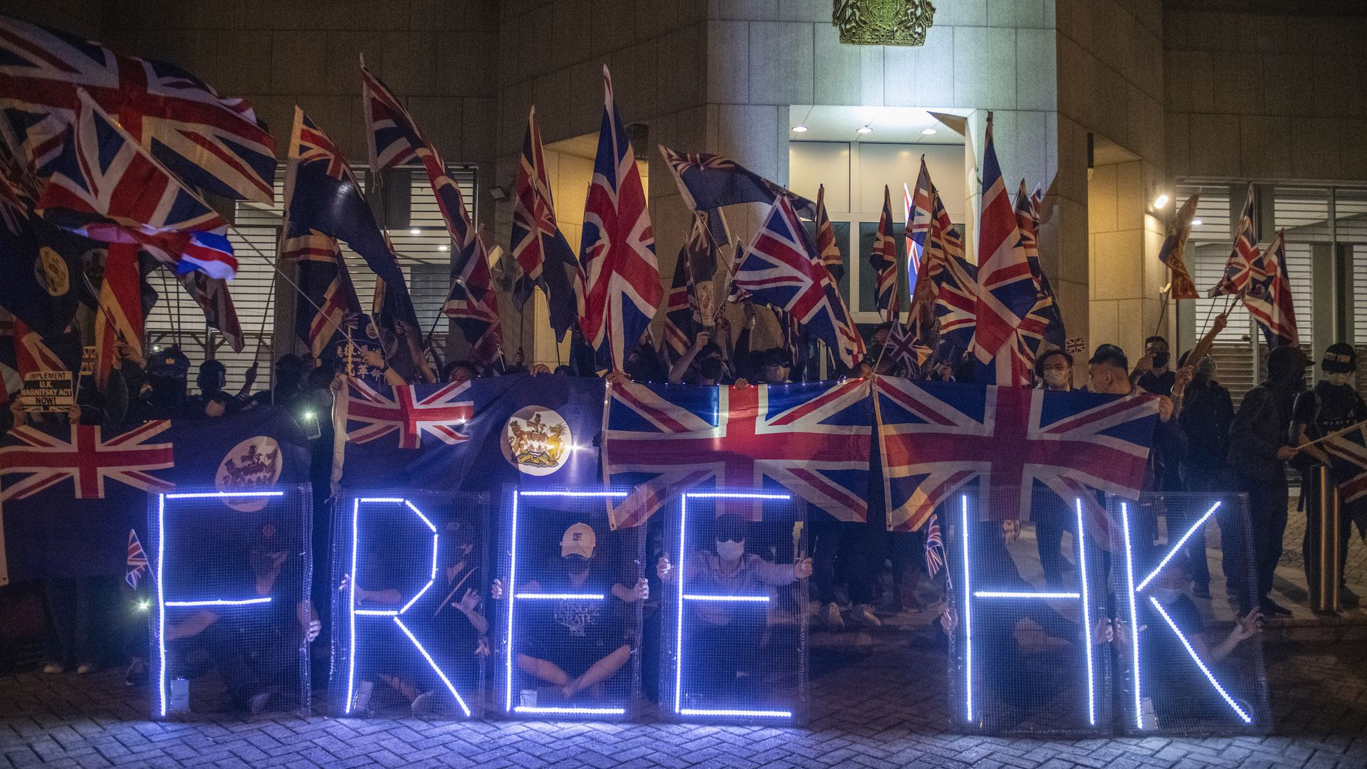 Protesters outside the British Consulate Central in Hong Kong