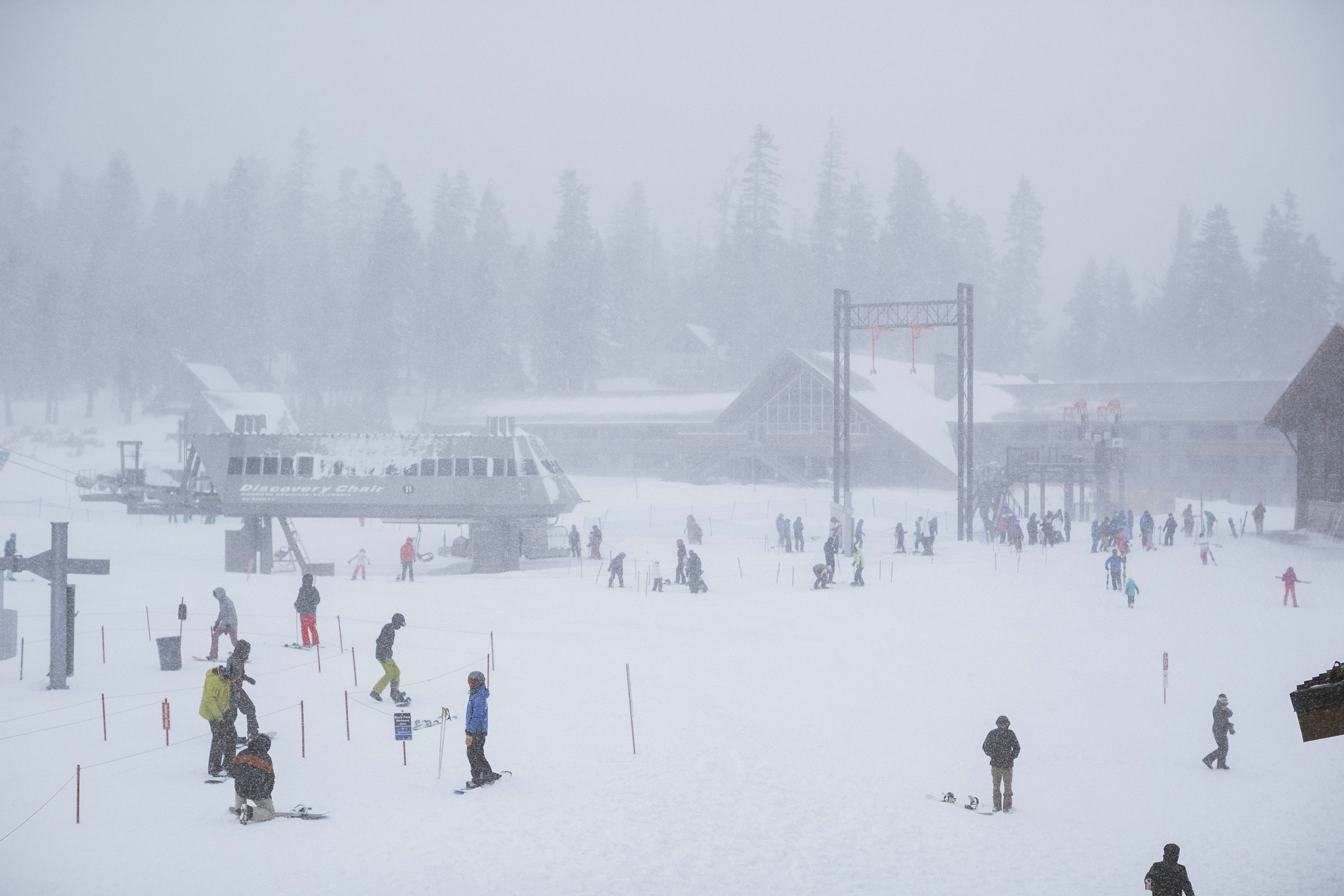 Skiers and snowboarders in California.
