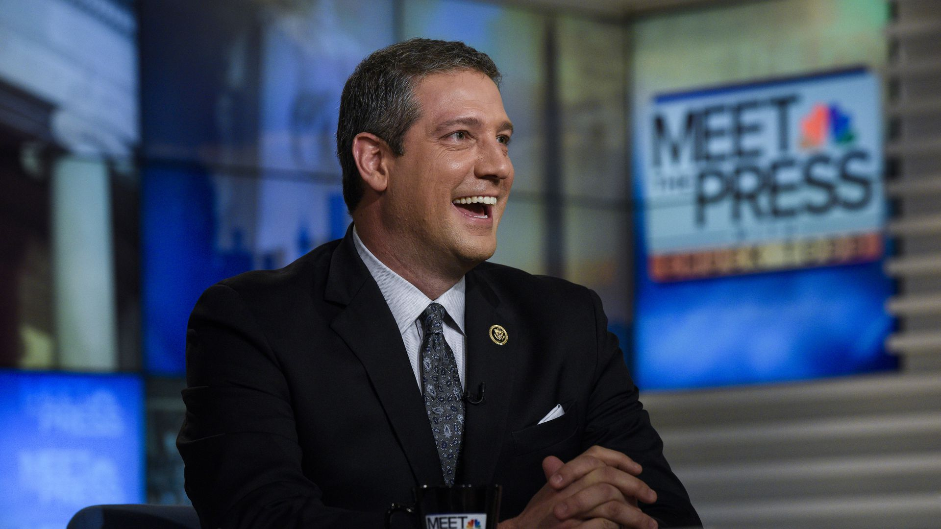 Tim Ryan is pictured here laughing on the set of Meet the Press.