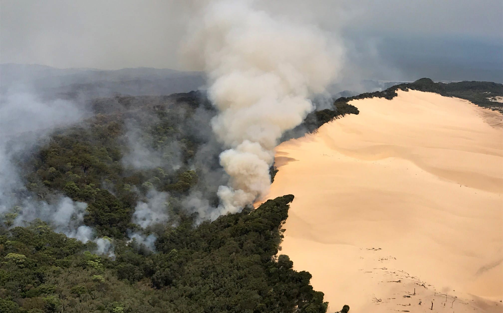 Fires continue to burn on November 30, 2020 on Fraser Island, Australia.