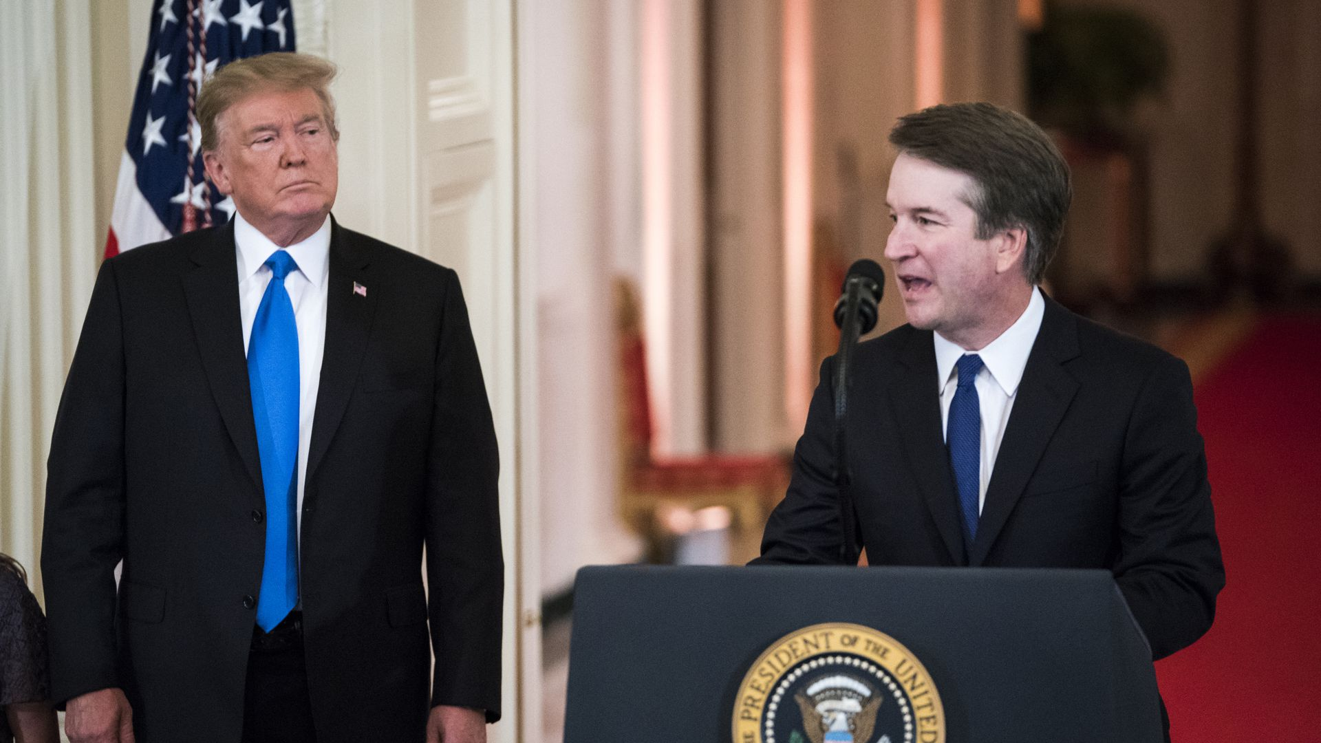 President Donald Trump listens to Judge Brett M. Kavanaugh. Photo: Jabin Botsford/The Washington Post via Getty Images