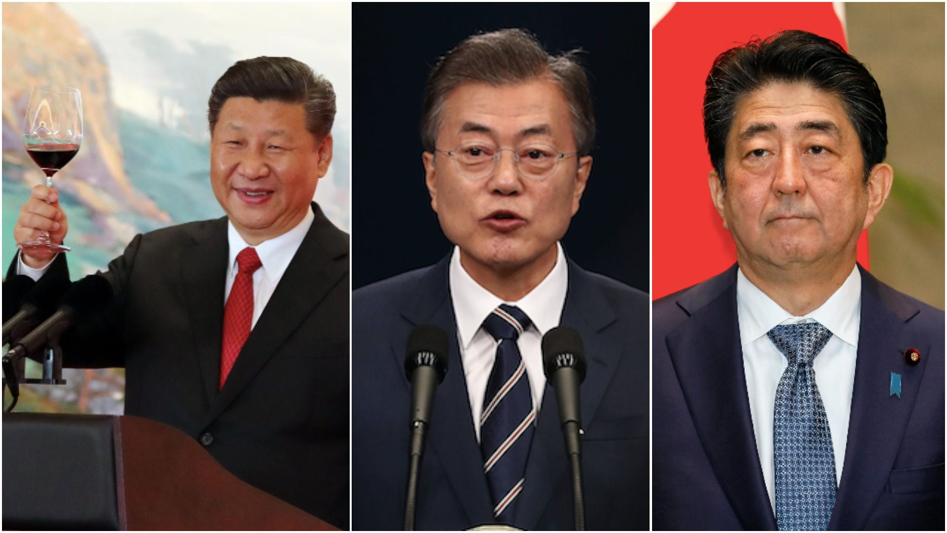 Xi Jinping raises a glass, Moon Jae In, Shinzo Abe