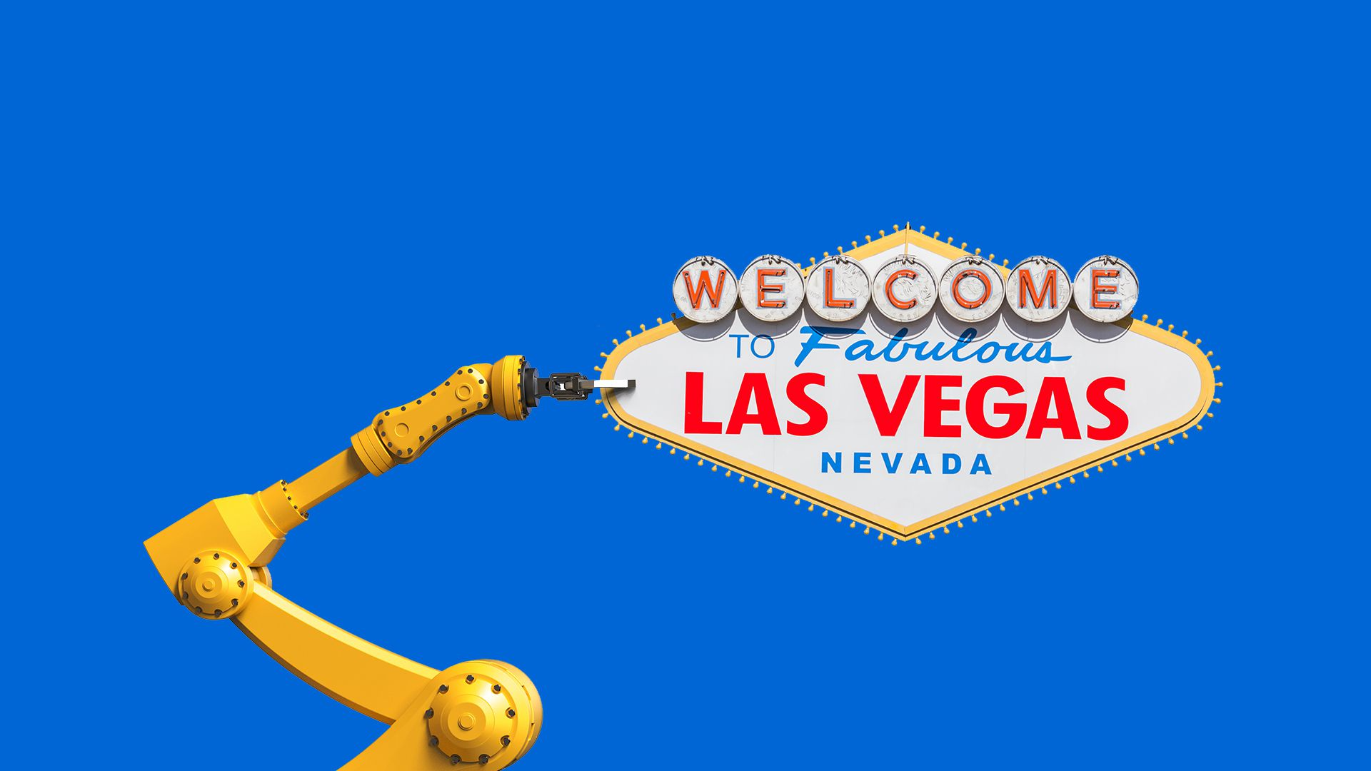 "Illustration of a mechanical arm holding up a sign reading ""Welcome to fabulous Las Vegas, Nevada"""