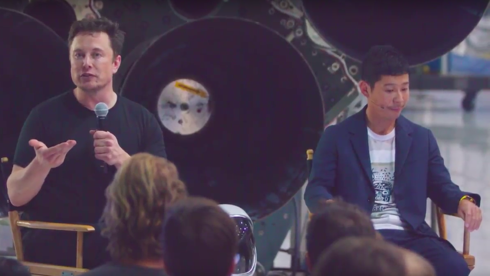 SpaceX CEO Elon Musk and Yusaku Maezawa during the livestream