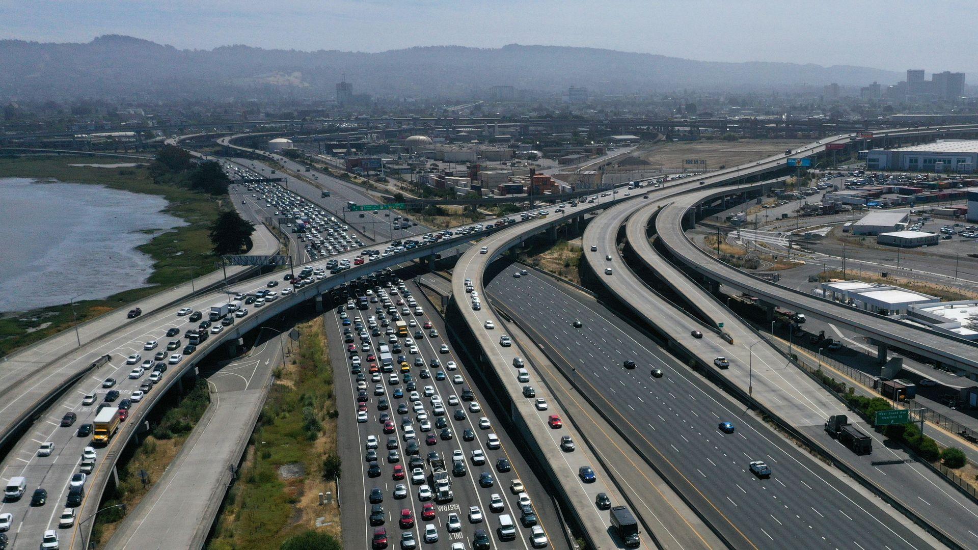 Traffic backs up at the San Francisco-Oakland Bay Bridge toll plaza along Interstate 80 on July 25