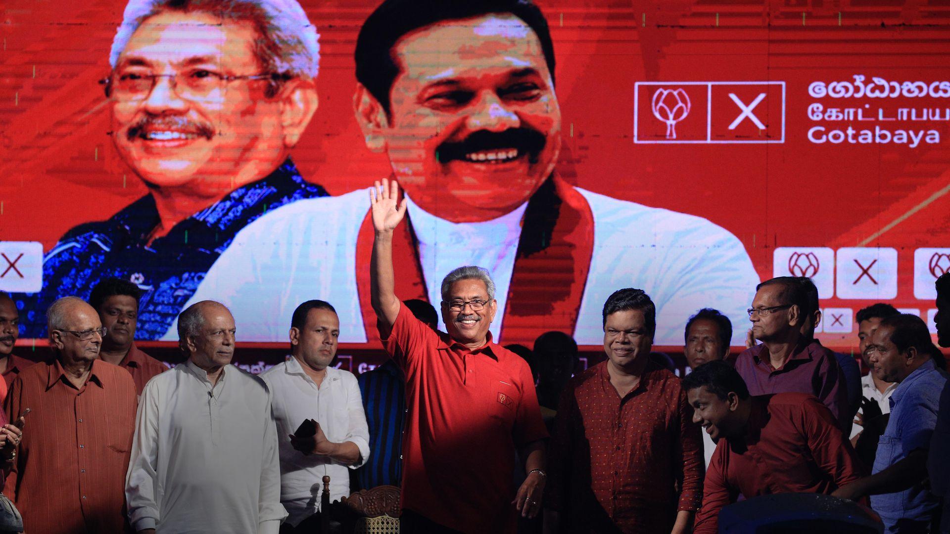 Gotabaya Rajapaksa celebrates at a rally