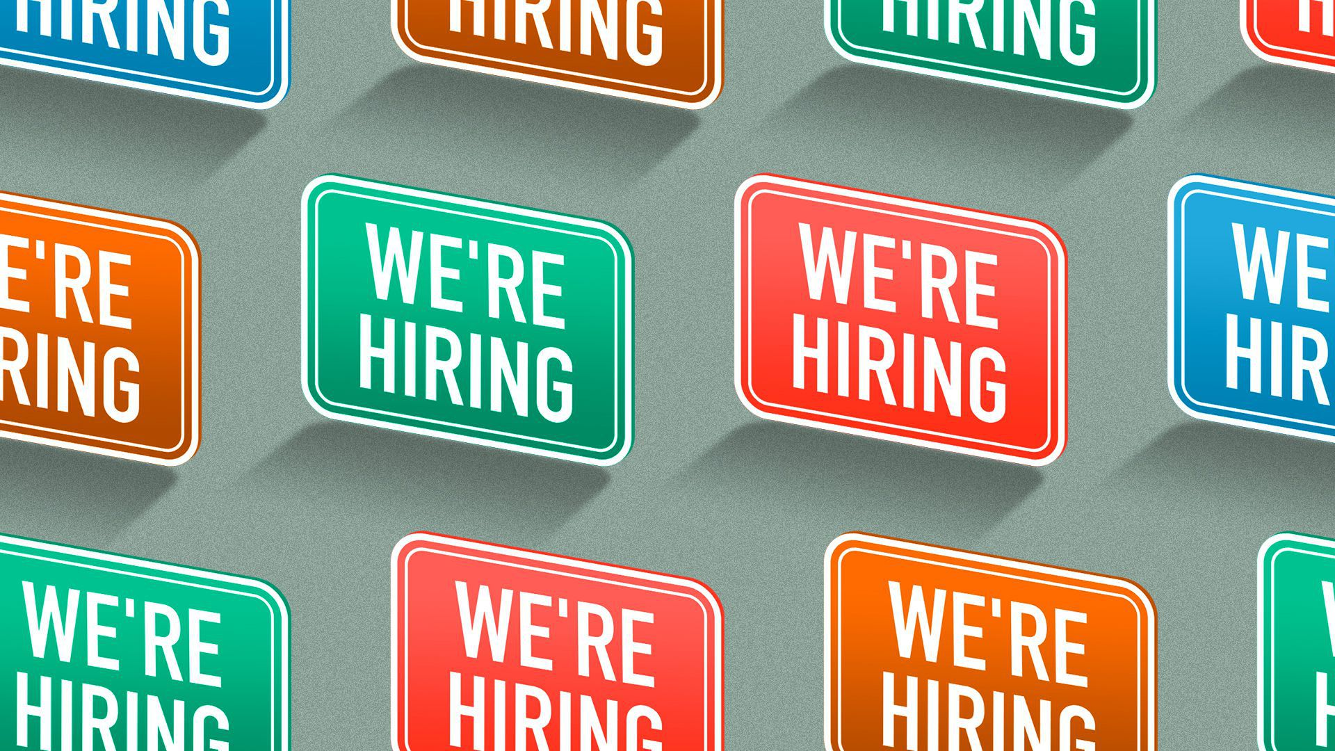 """Illustration of a pattern of """"we're hiring"""" signs, in different colors."""