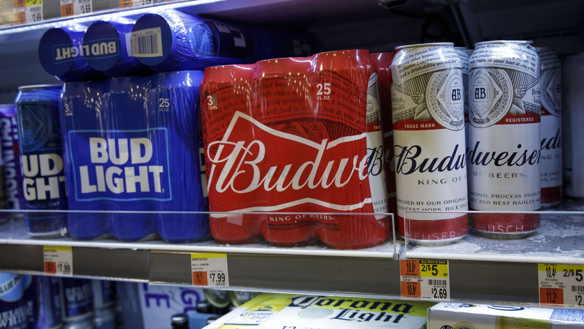 cans of tall boy beer Bud Light, Budweiser and miller