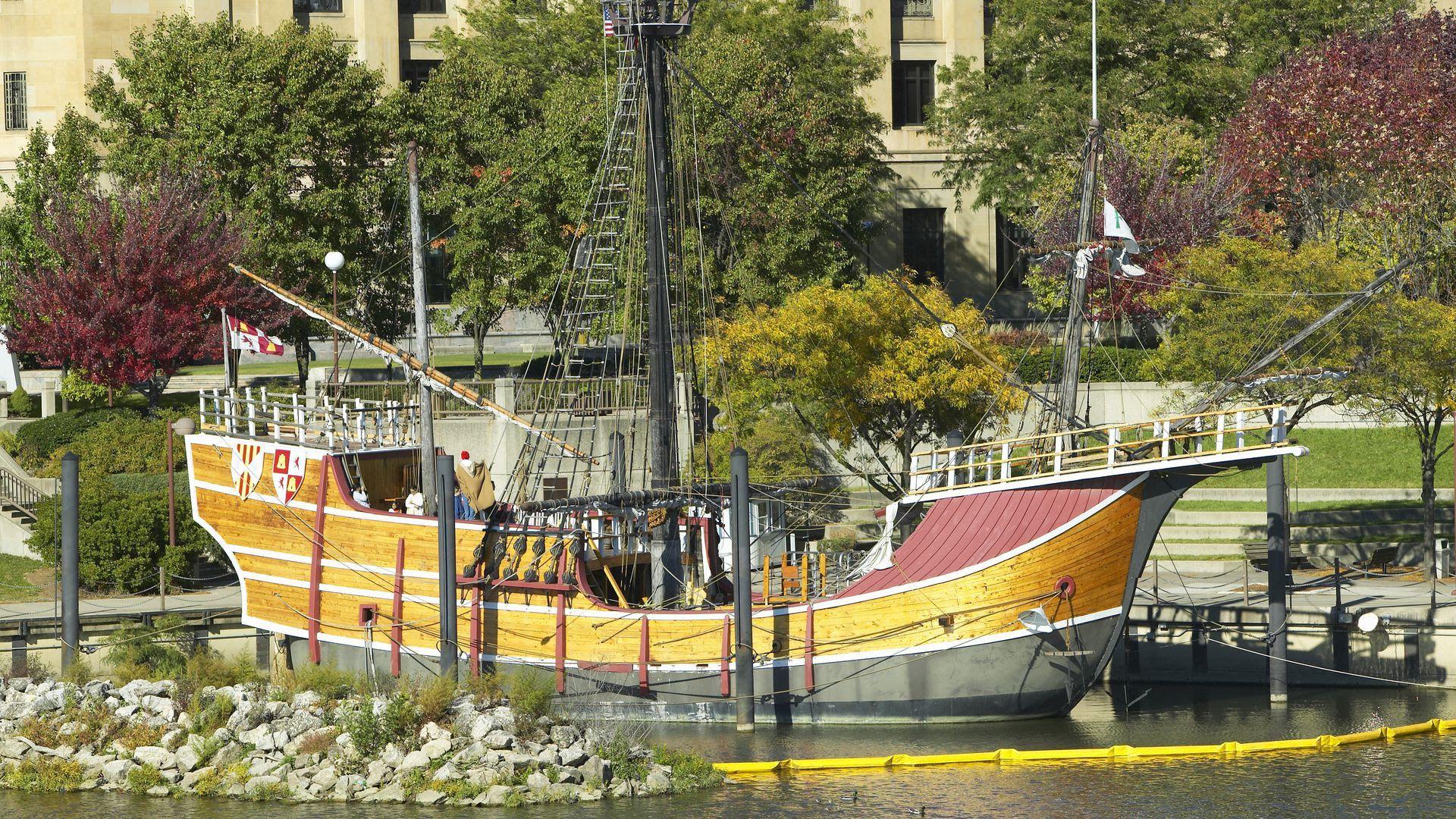 The wooden Santa Maria replica in the Scioto River.