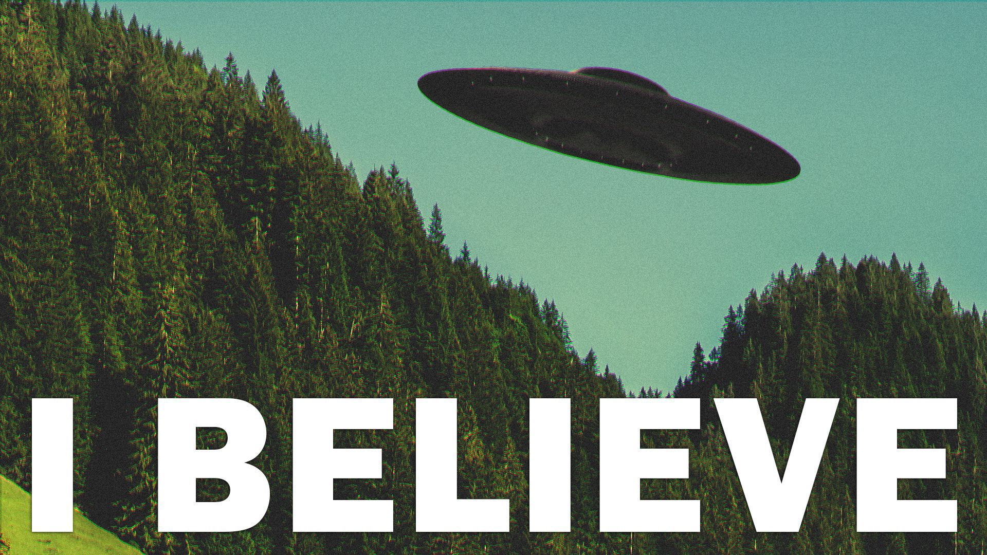 """Illustration of a poster of a UFO hovering over a landscape with copy that reads, """"I Believe""""."""