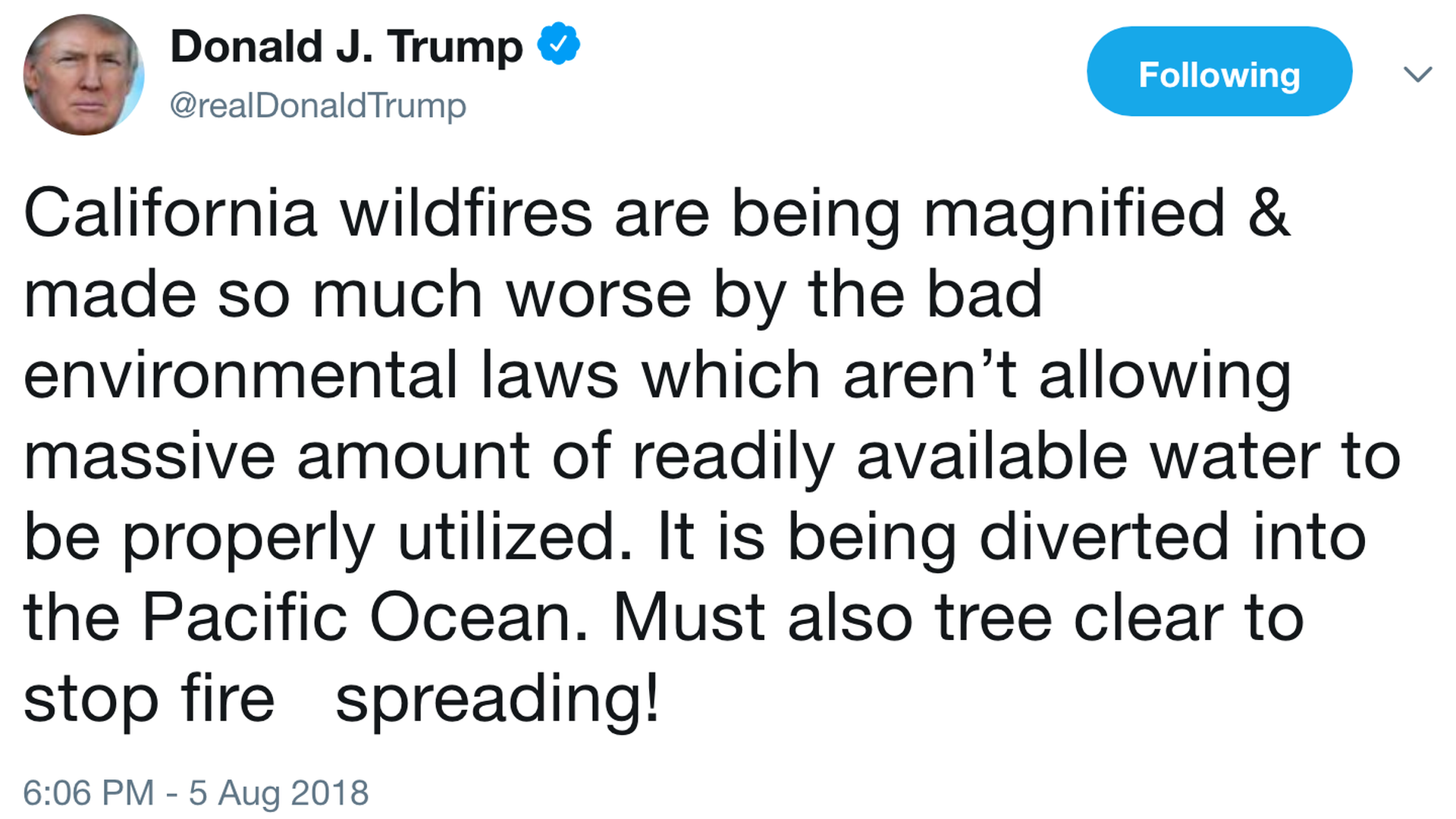 "Trump claims California wildfires ""made so much worse"" by environmental laws"