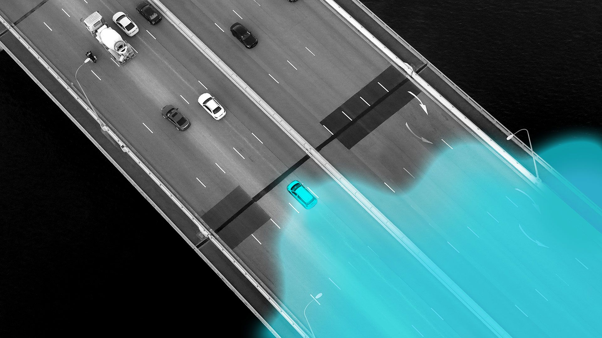 Illustration of a car driving down a highway leaving behind a glowing trail that ripples out.