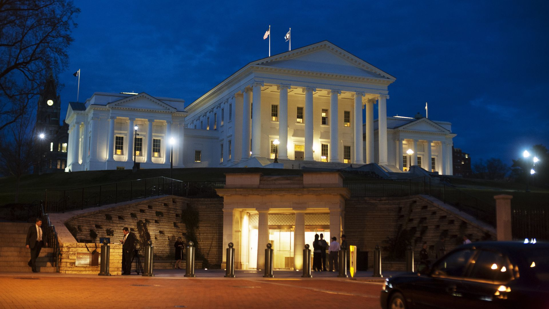 The Virginia state Capitol at night