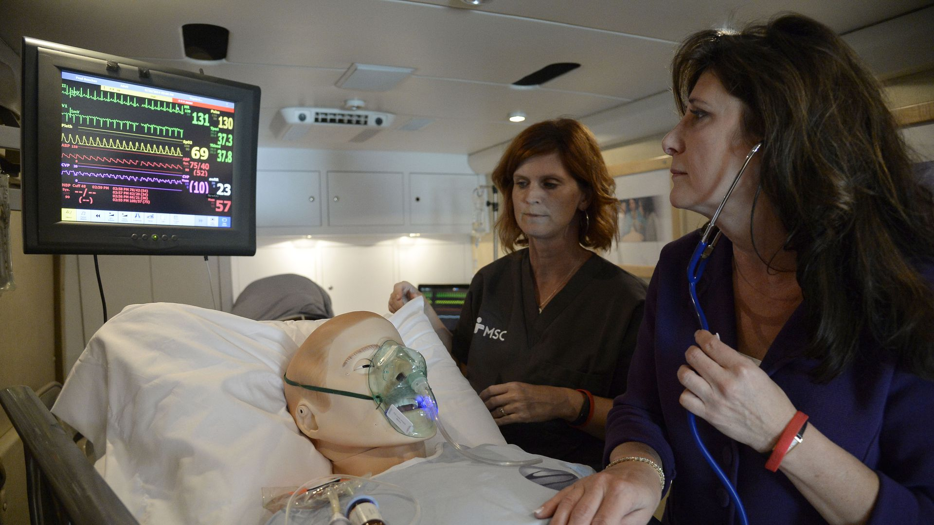 Photo of two people checking vitals of sepsis dummy in lab to train sepsis awareness