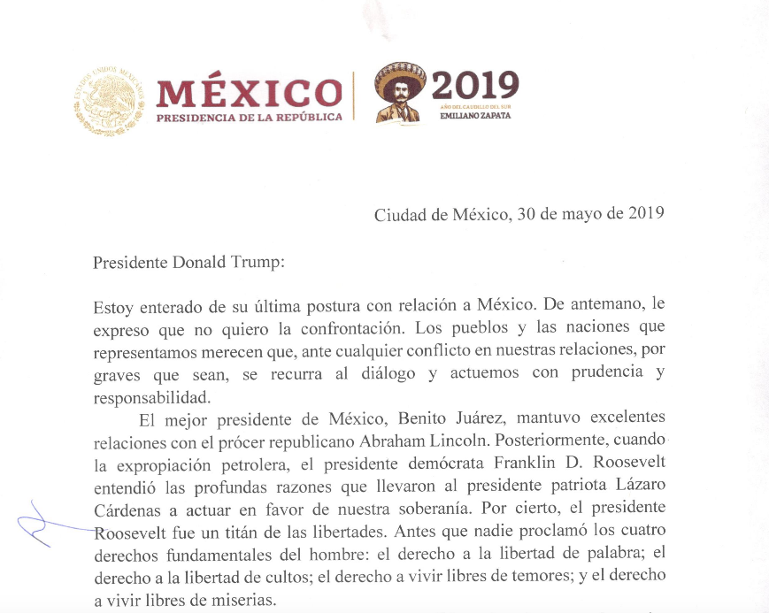A photocopy of a letter from Mexican President Andres Manuel Lopez Obrado to U.S. President Donald Trump.
