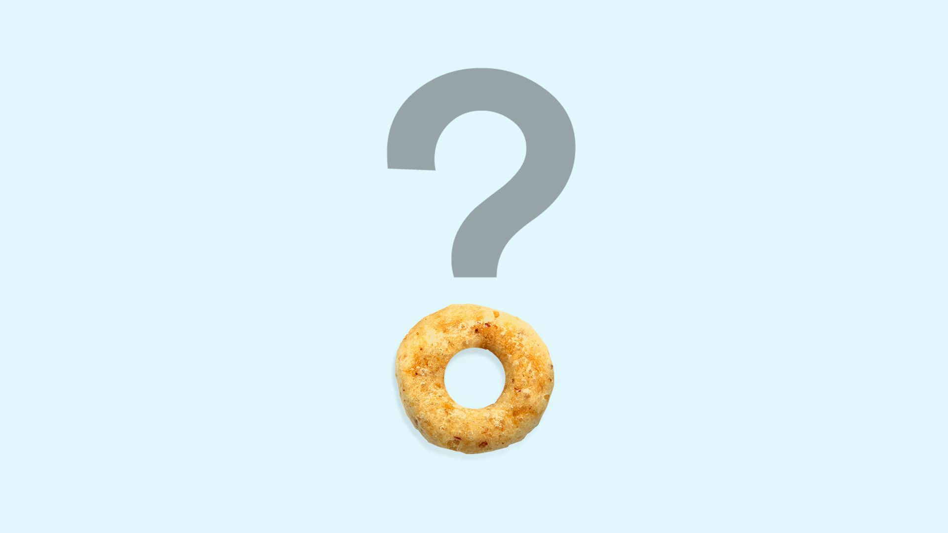 Photo illustration of a question mark with a cheerio instead of a dot at the end