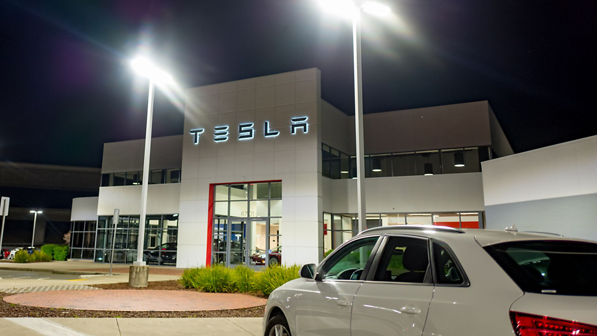 A Tesla dealership.