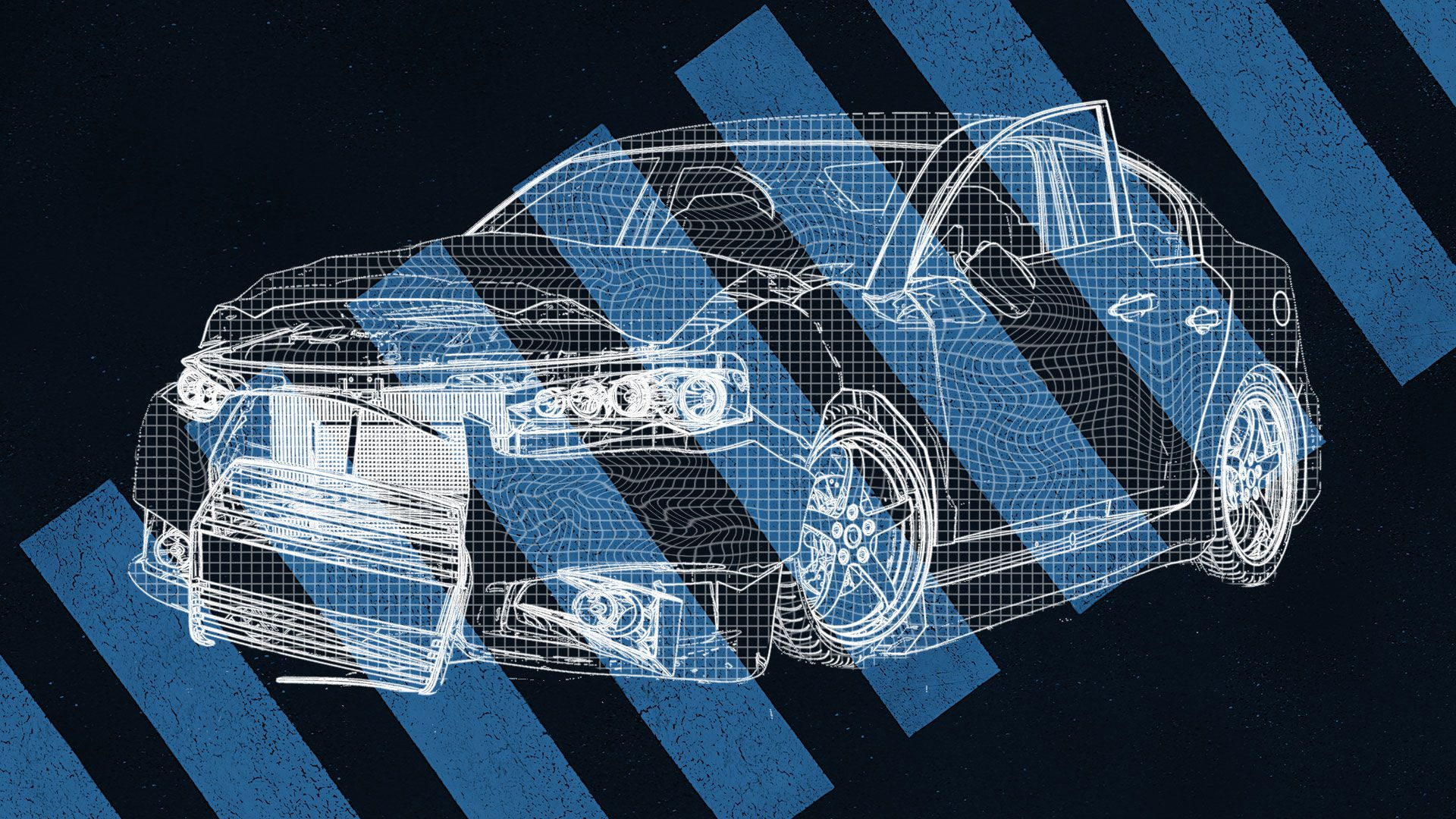 Illustration of a wireframe crashed car over a blue crosswalk