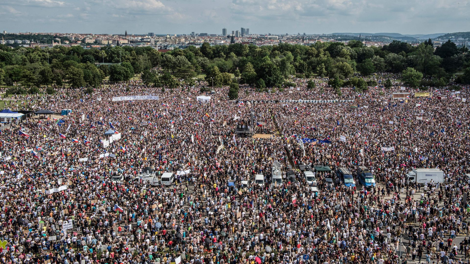 People attend a rally demanding the resignation of Czech Prime Minister Andrej Babis on June 23.
