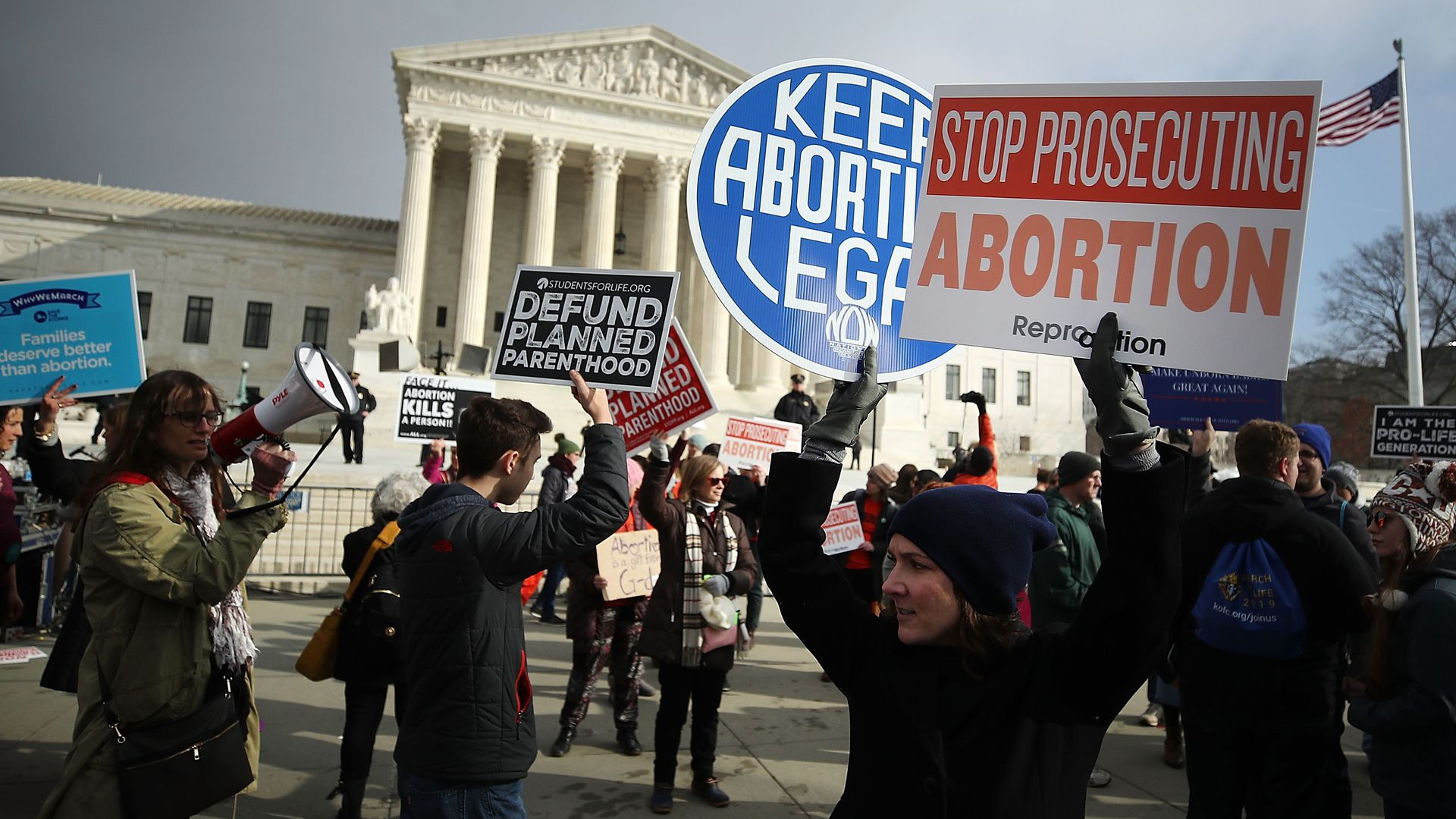 Protesters on both sides of the abortion issue demonstrating outside the U.S. Supreme Court in January.
