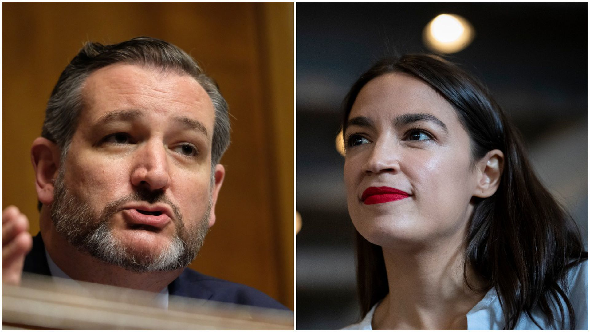 This image is a split screen of Ted Cruz speaking on the left and AOC listening on the right.