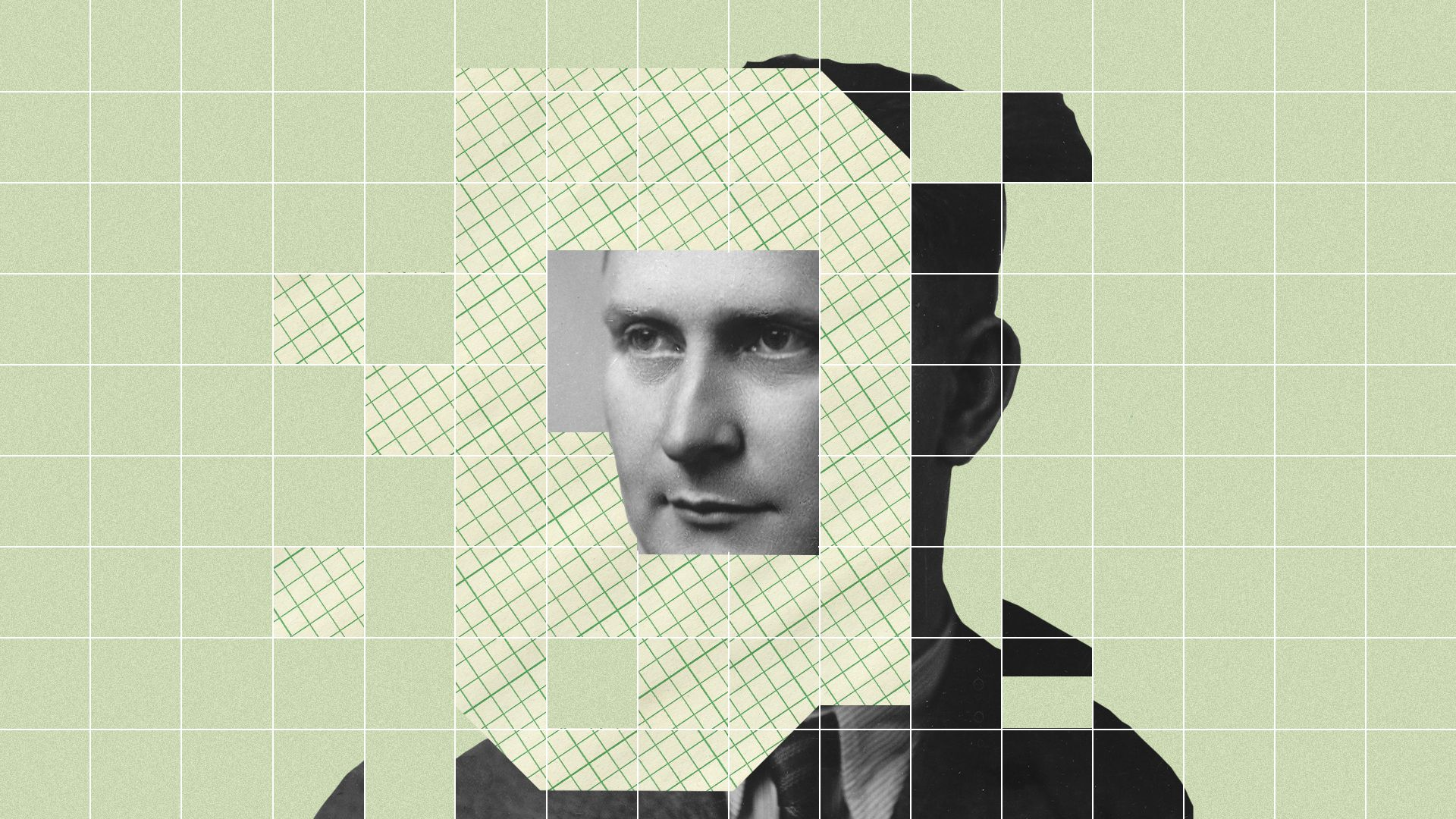In this illustration, a man's face is cut out into digital blocks.