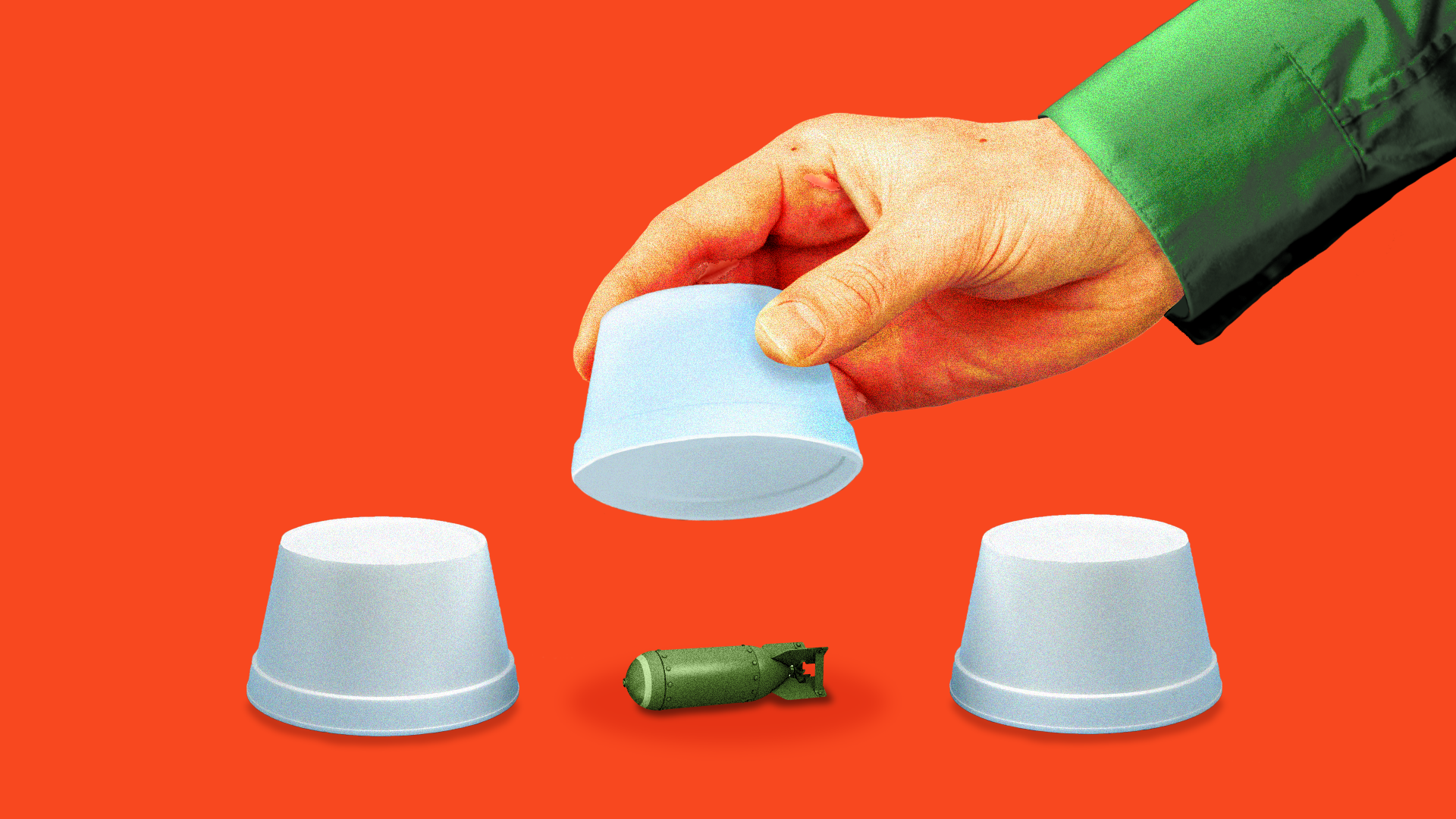 Illustration of three cups and under one is a nuclear warhead.