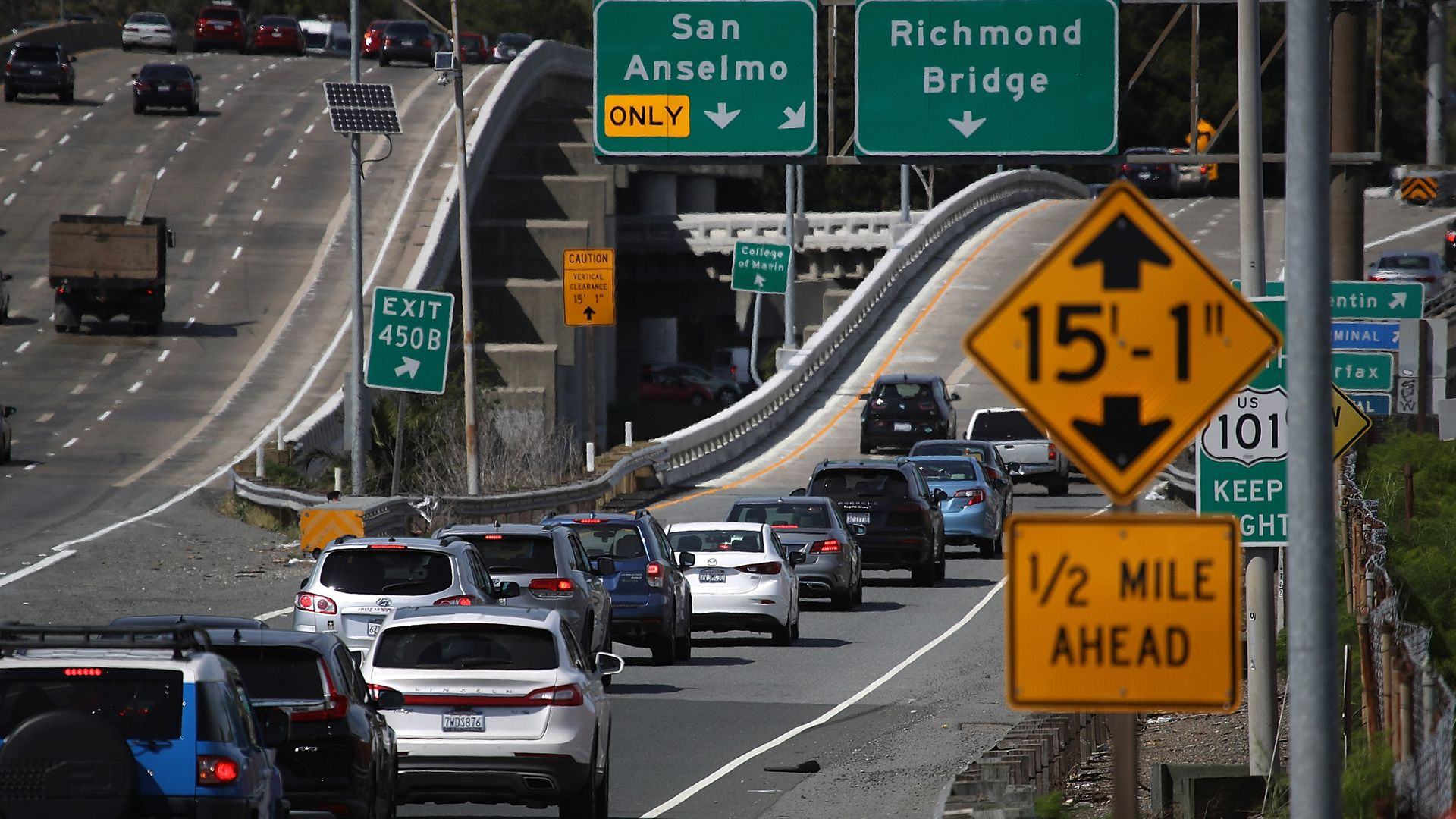 Traffic backs up on an exit from Highway 101 on May 1, 2018, in Larkspur, California.