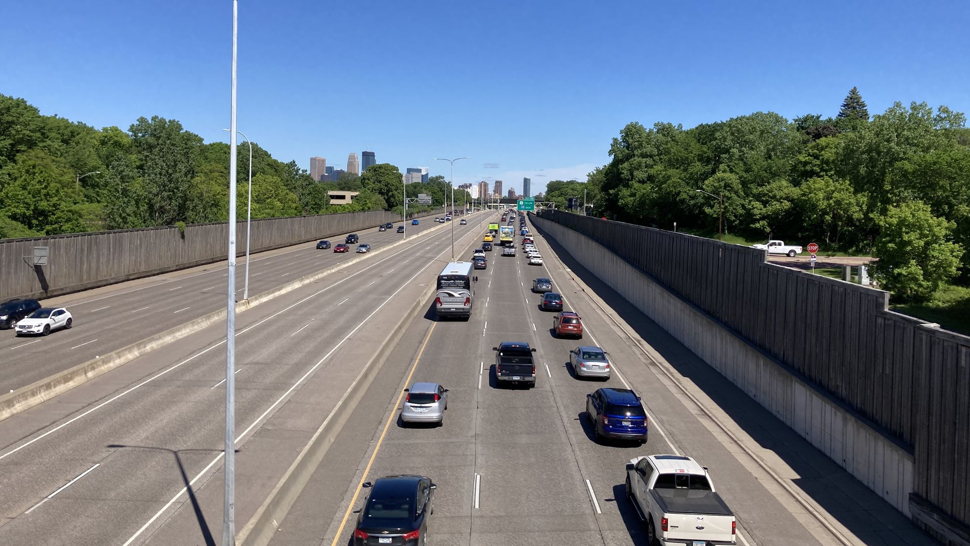 Traffic on a freeway in the Twin Cities.