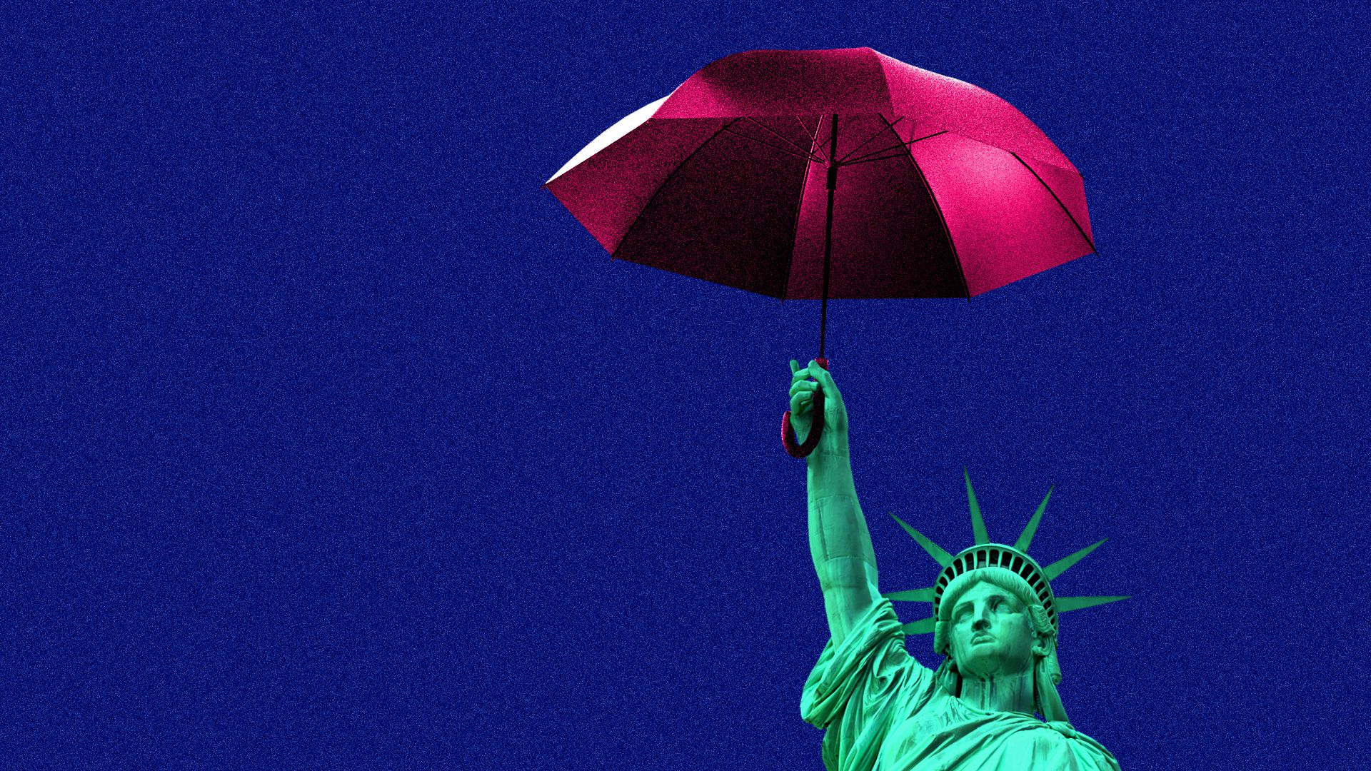 Illustration of the Statue of Liberty holding up a red umbrella against a blue background