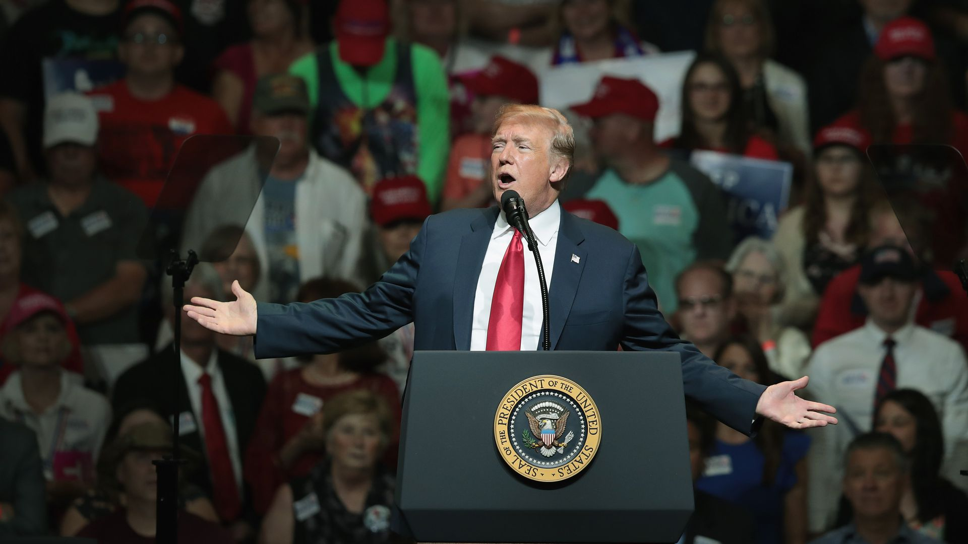 President Trump at a rally earlier this week. A number of his top officials have threatened to leave the White House.