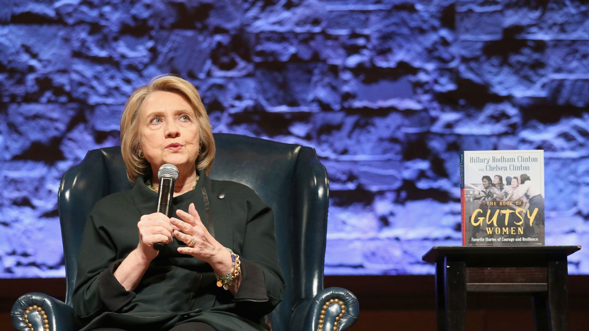 """Hillary Rodham Clinton attends """"Hillary & Chelsea Clinton: A Conversation on """"The Book Of Gutsy Women"""" at Riverbend Center on November 3, 2019 in Austin, Texas."""