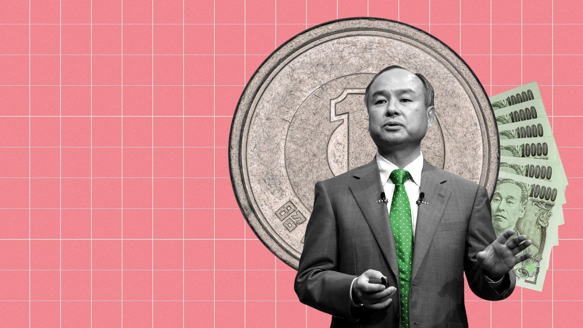 Illustration of SoftBank chairman Masayoshi Son in front of money