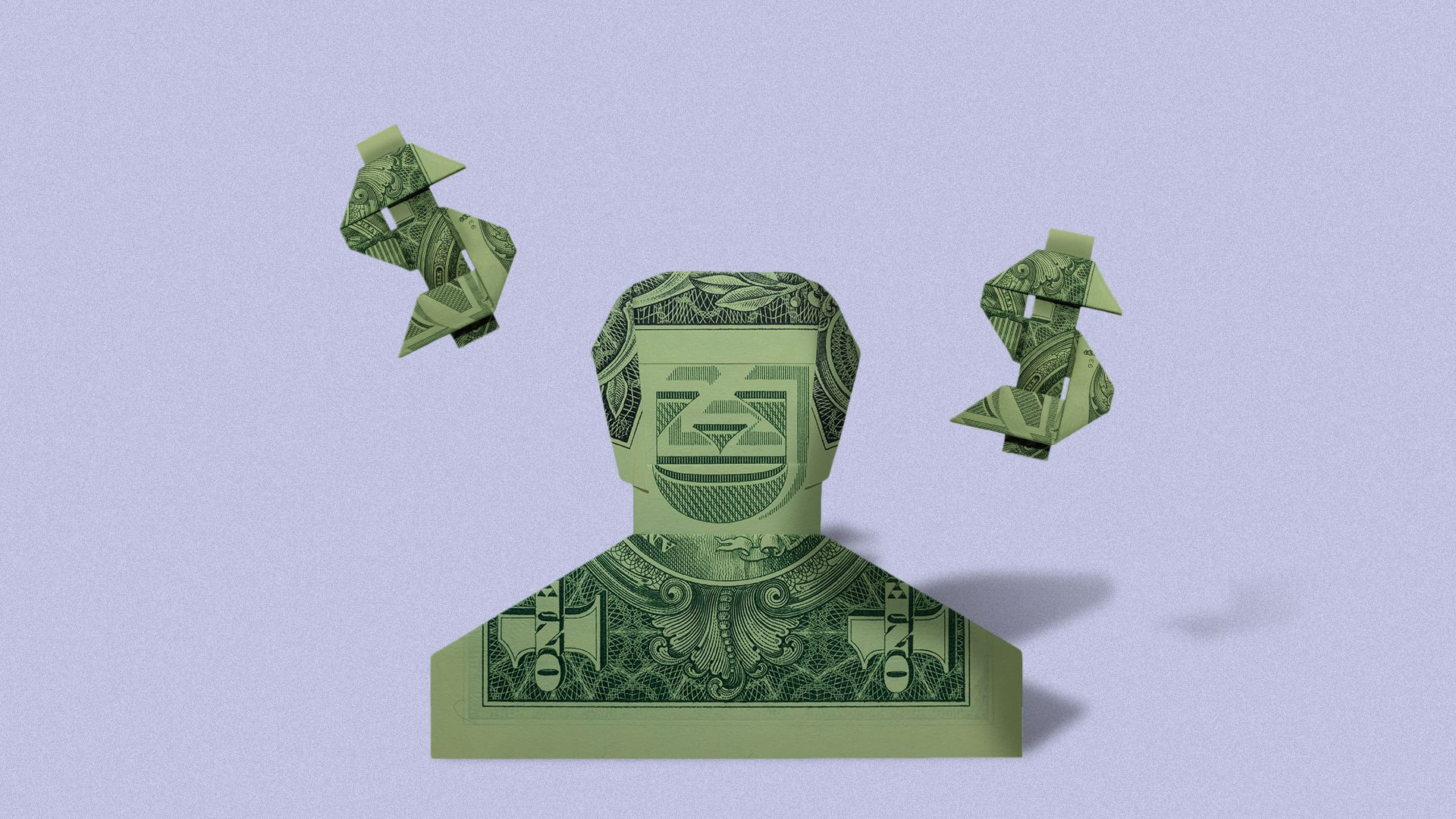 Illustration of an origami man made from paper money.