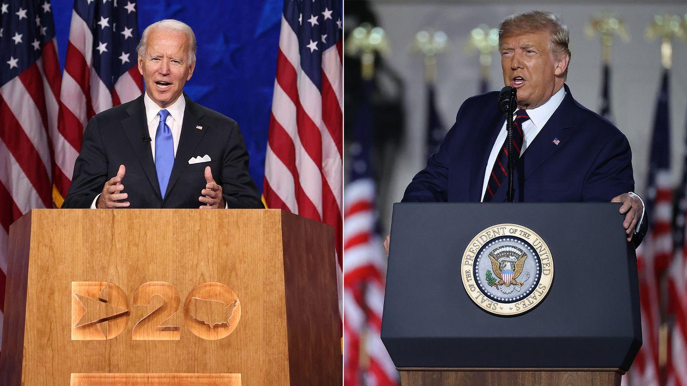 Biden narrowly beats Trump in convention speech ratings thumbnail