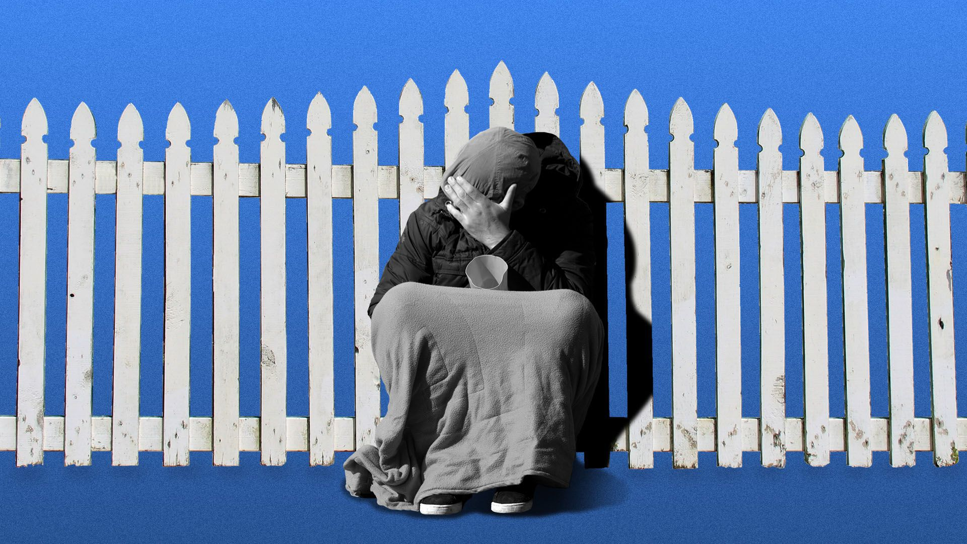 Illustration of a homeless person sitting in front of a white picket fence