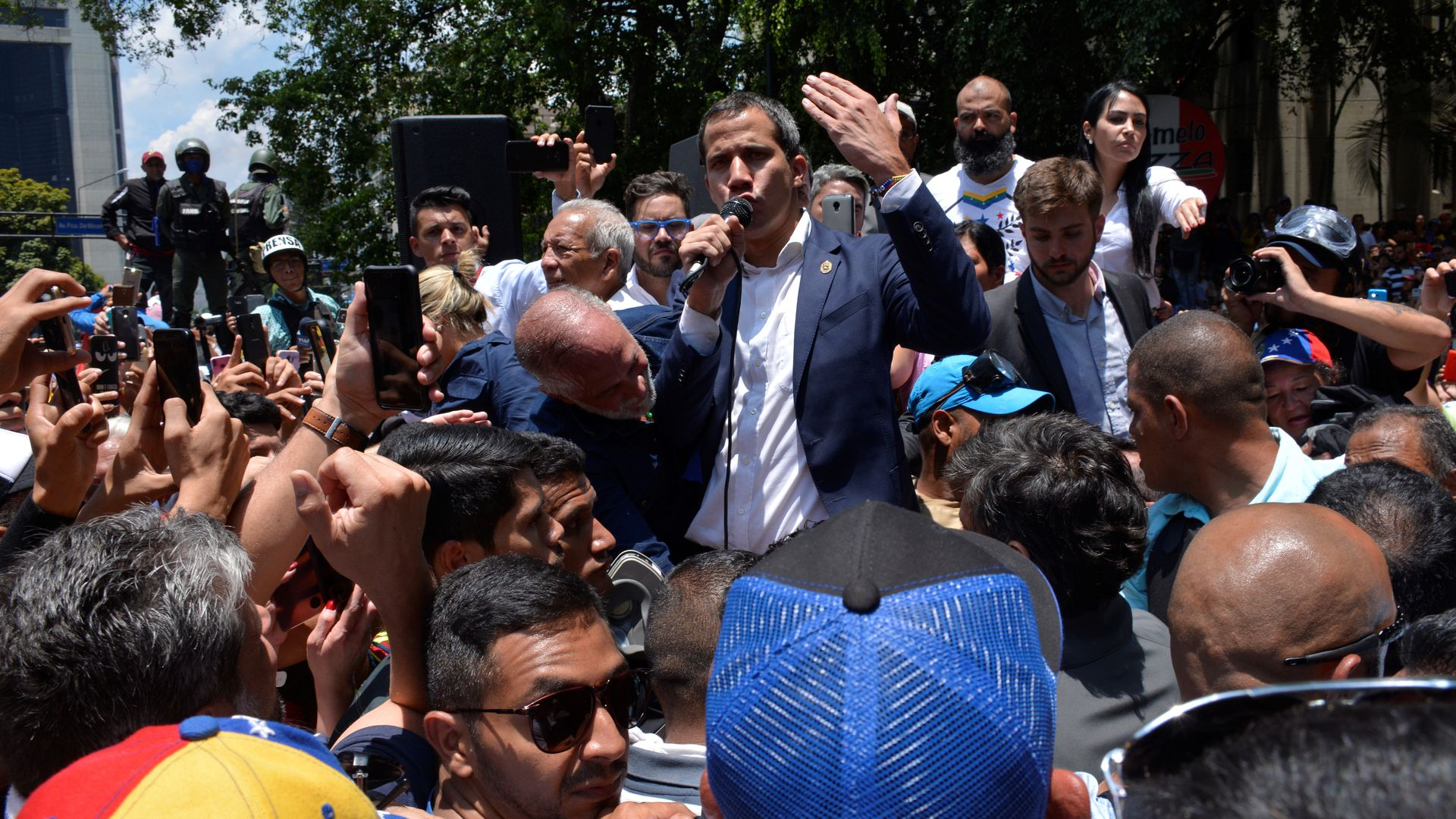 Juan Guaido addressing his supporters in the street