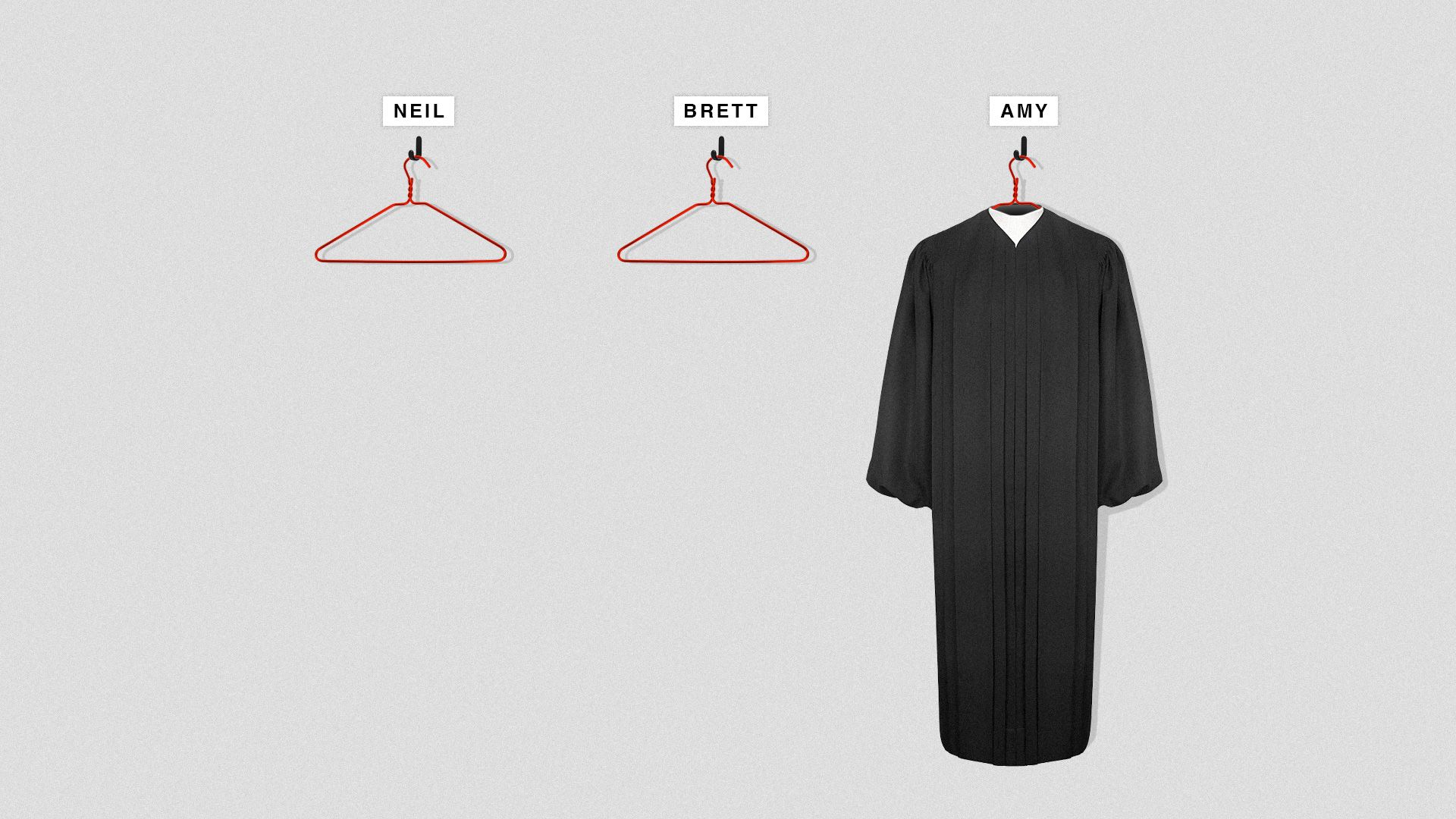 A judge's robe on a wire hanger with a label above reading 'Amy'