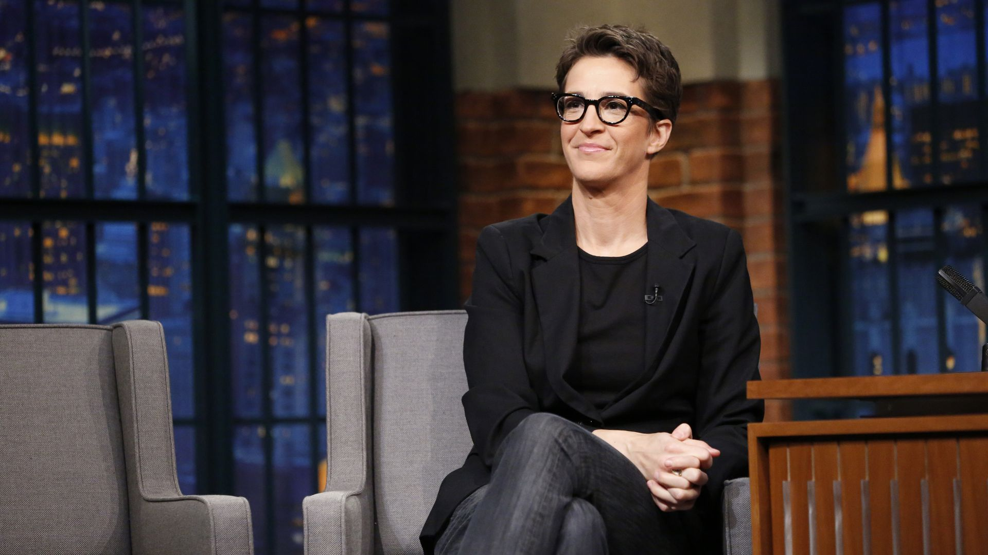 Political commentator, Rachel Maddow during an interview on December 21, 2016