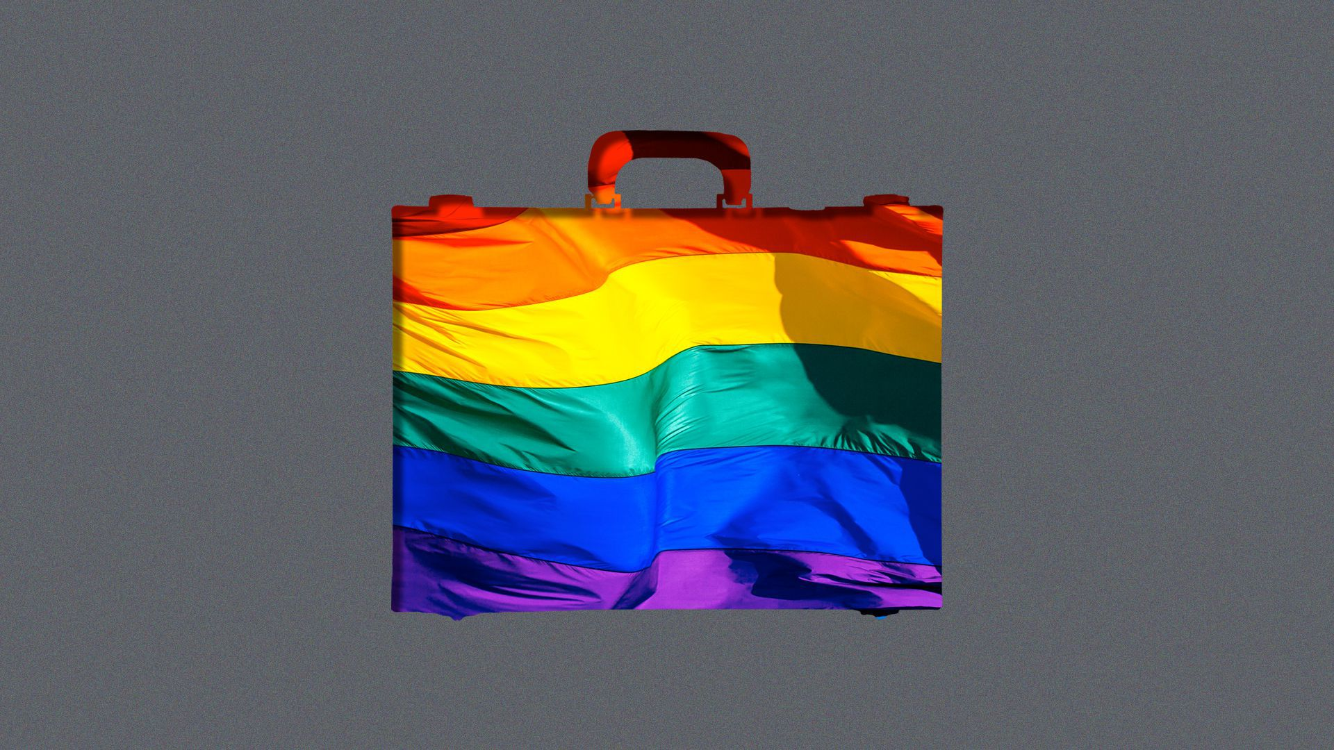 Illustration of the shape of a briefcase revealing a rainbow flag.