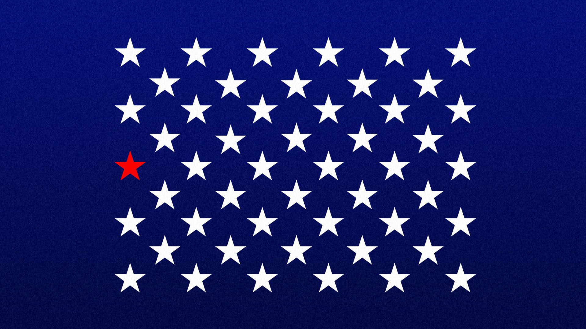 Illustration of one red star representing California amongst the field of 50 white stars on the United States flag
