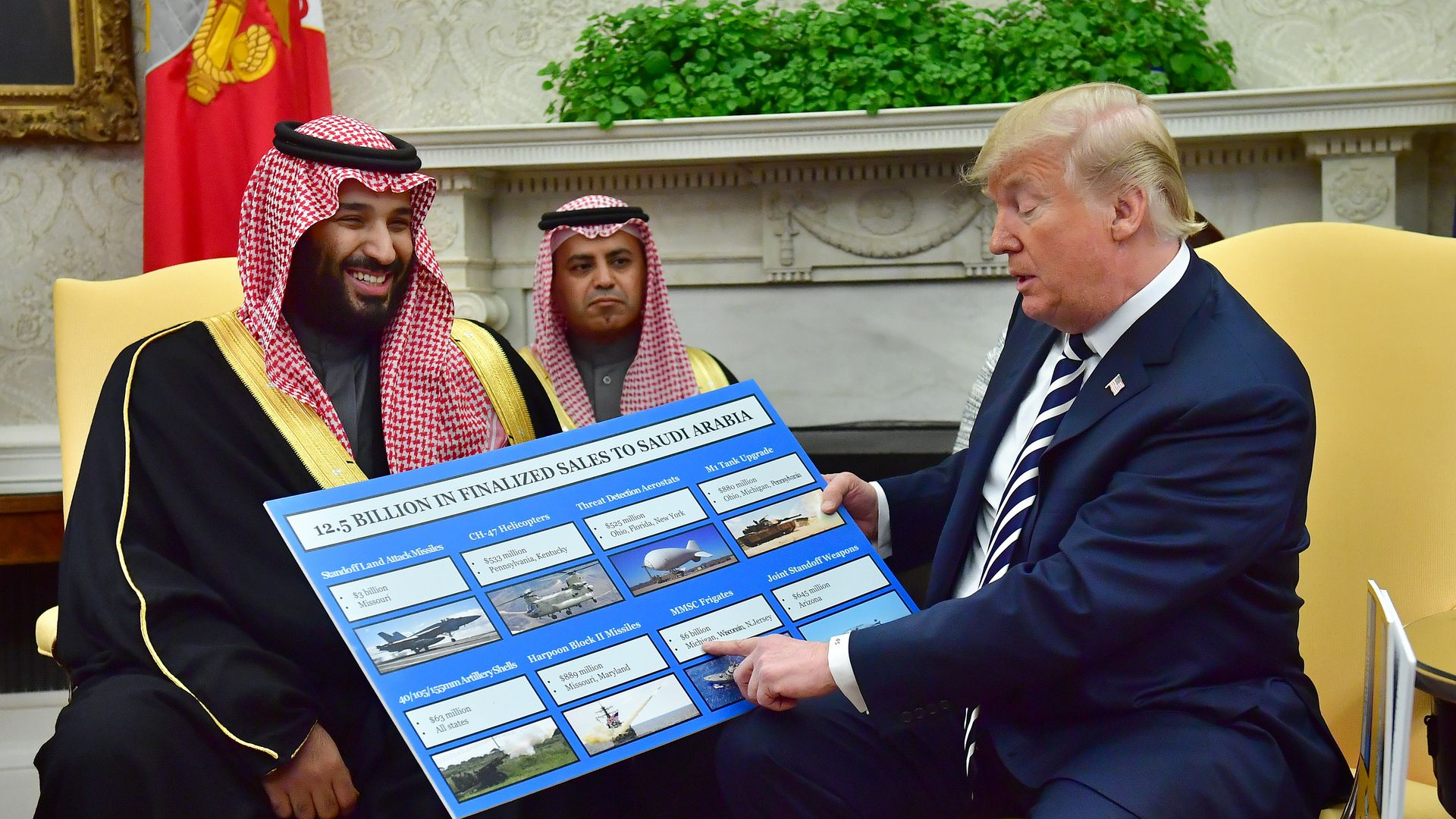 Trump pointing to a poster with arms sales in meeting with Mohammad Bin Salman