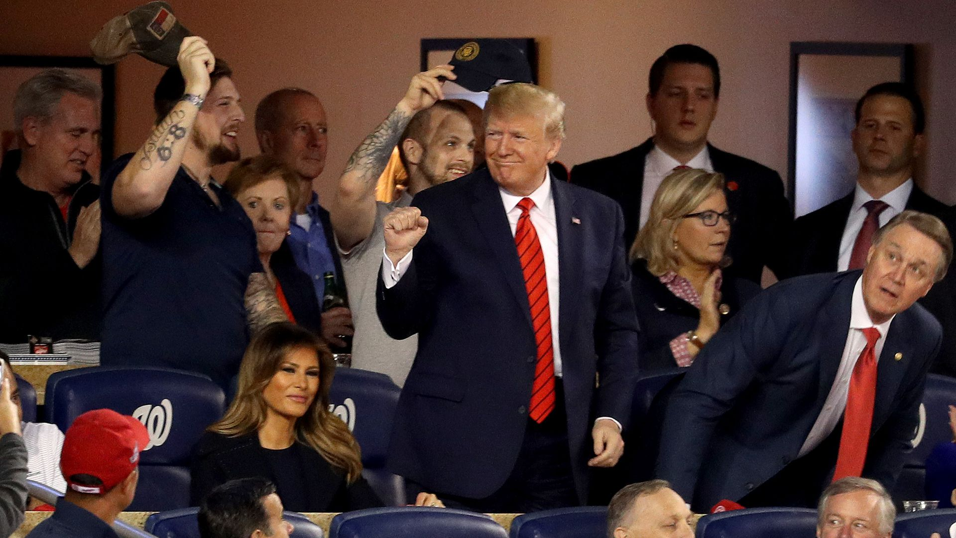 President Trump raises a fist in the stands of the Washington Nationals game.