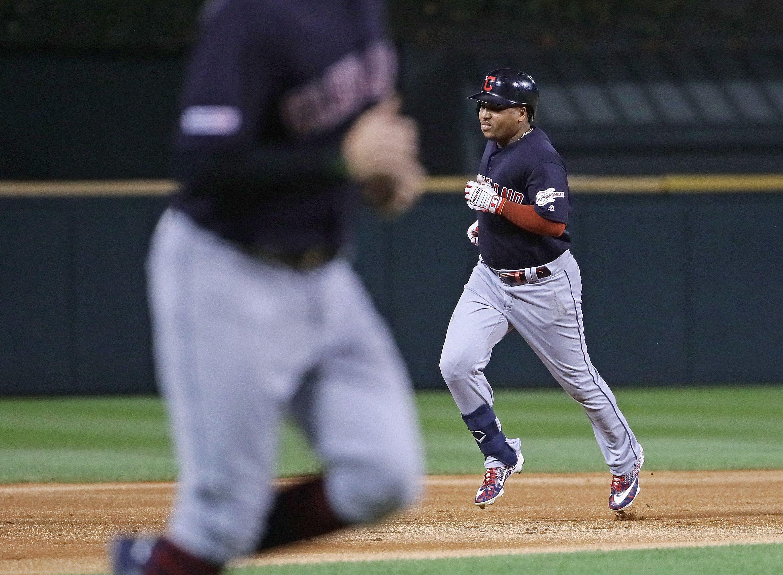 Jose Ramirez rounding the bases