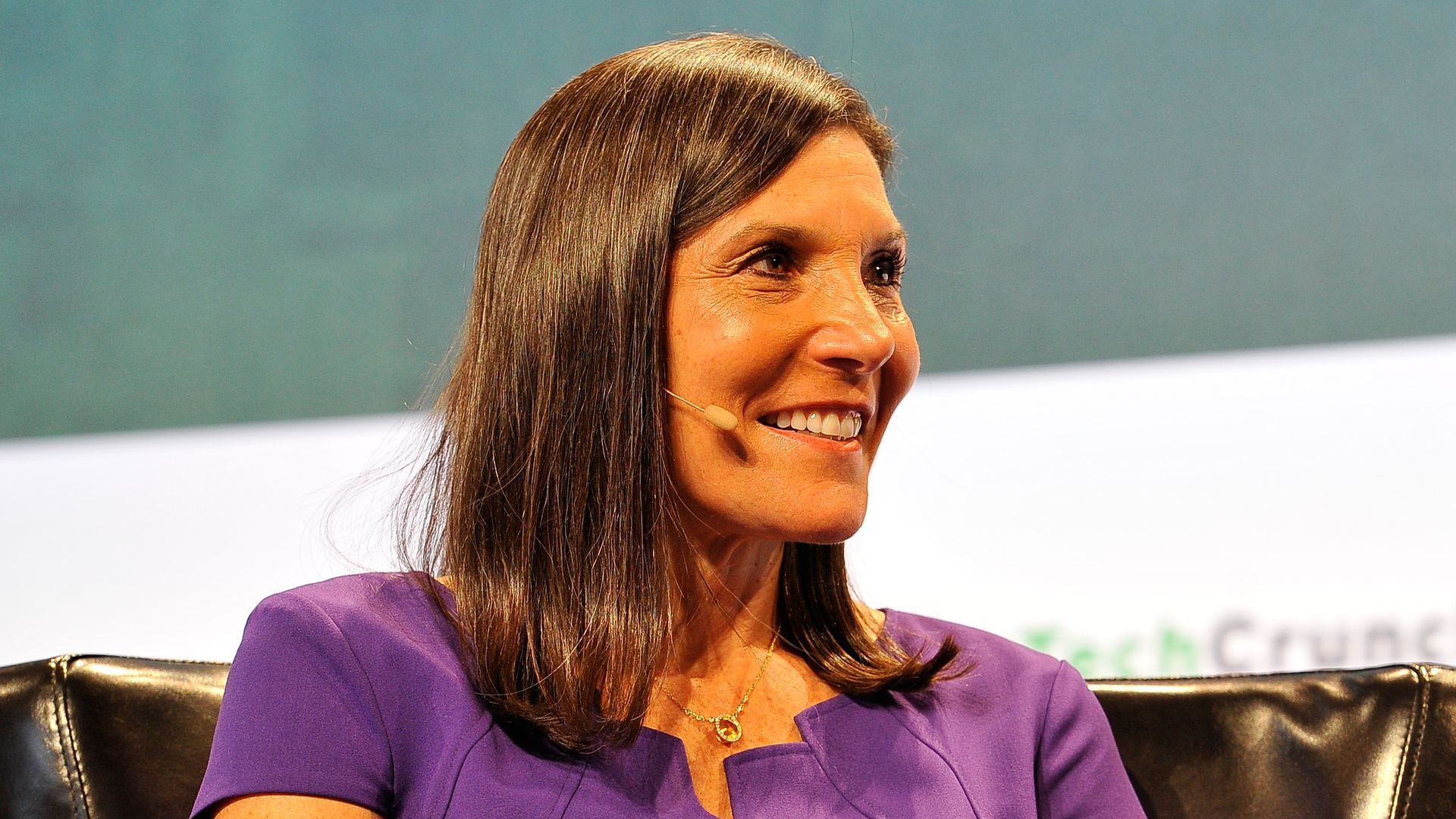 Beth Seidenberg speaking at a TechCrunch conference.