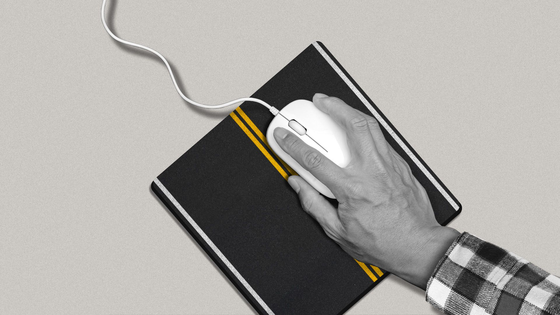 Illustration of a hand guiding a computer mouse on a highway-themed mouse pad