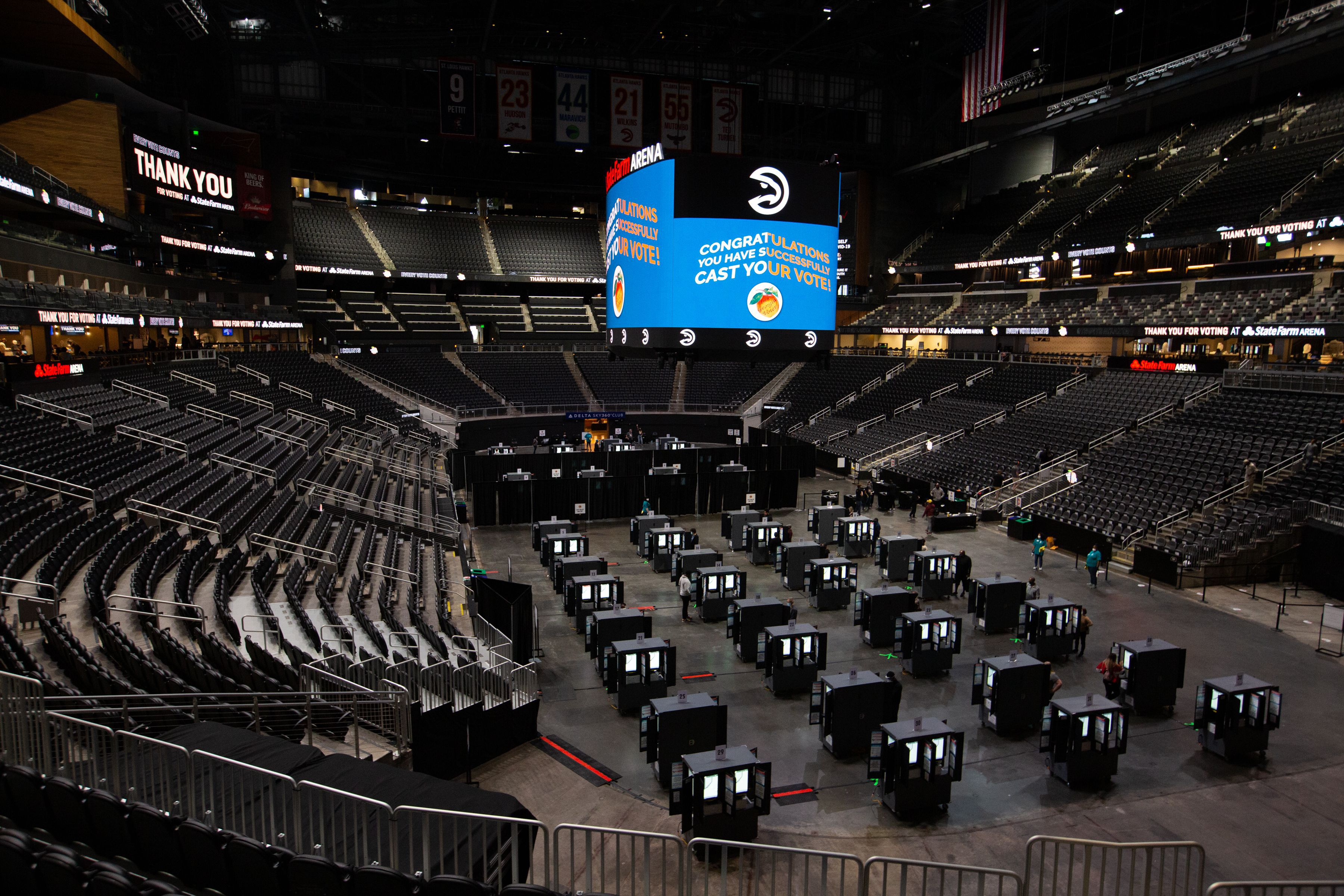 Voting booths inside Atlanta's State Farm Arena. Photo: Jessica McGowan/Getty Images